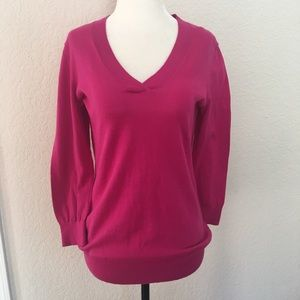 Ann Taylor Loft Hot Pink V-Neck Sweater
